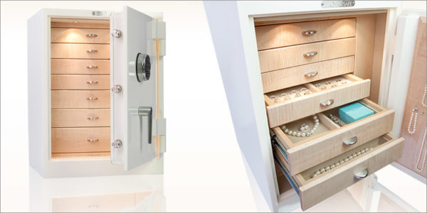 built-in jewelry safes with drawers for closets